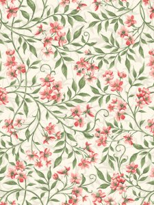 Allover Blossoms - Cream/Pink -10 yds