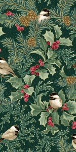 Chickadees & Holly Allover - Green Multi